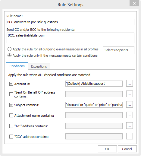 Auto BCC for Outlook rule settings