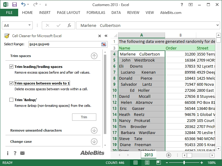 Remove excess spaces in Excel, change text case and format