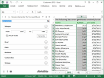 Generating random numbers, passwords, custom lists in Excel.