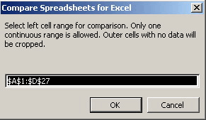 Compare Spreadsheets for Excel: Range selection.