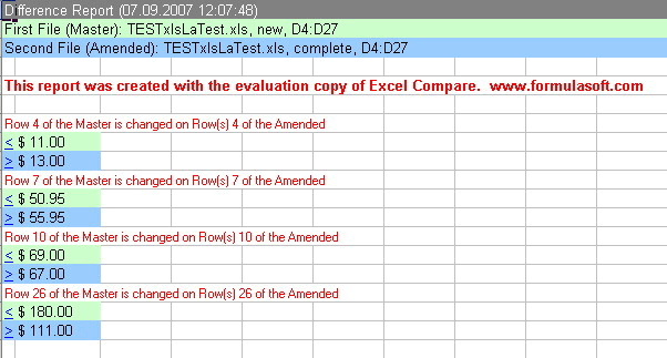 Excel compare: Difference report.