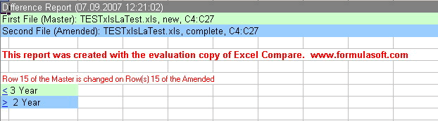 Excel compare: Difference report with 2 tabs.