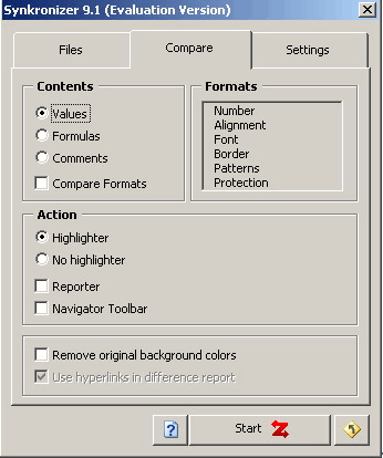 Synkronizer: Settings window.
