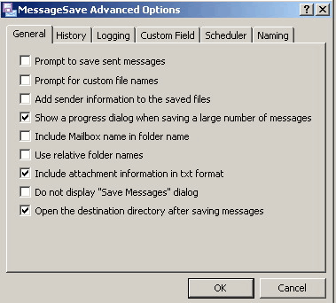 MessageSave for Microsoft Outlook: Advanced options