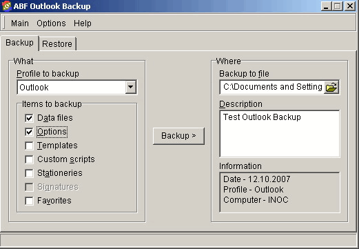 Outlook Backup: Backup settings