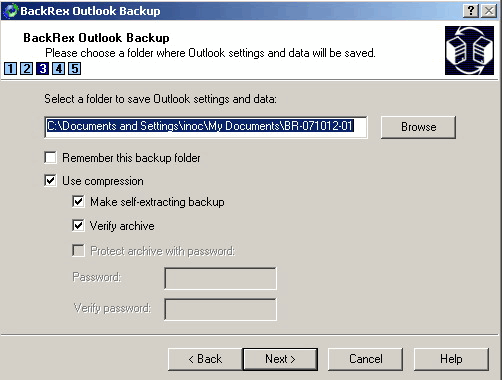 Outlook Backup: Select a folder