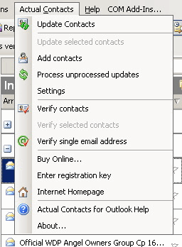 MAPILab Actual Contacts for Outlook: Add-in menu