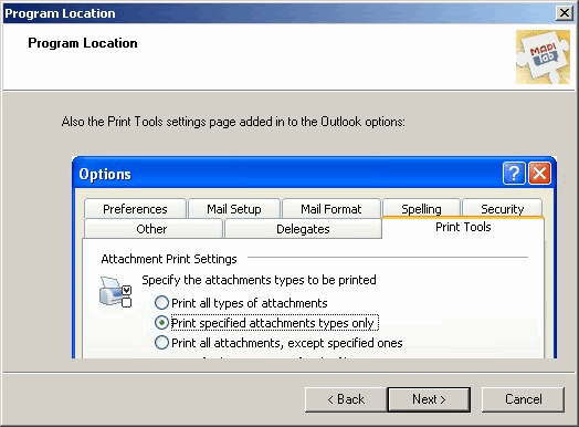 Print Tools for Outlook: Add-in settings location window