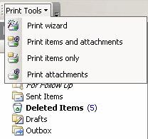 Print Tools for Outlook: Menu