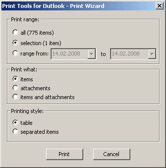 Print Tools for Outlook: Print wizard