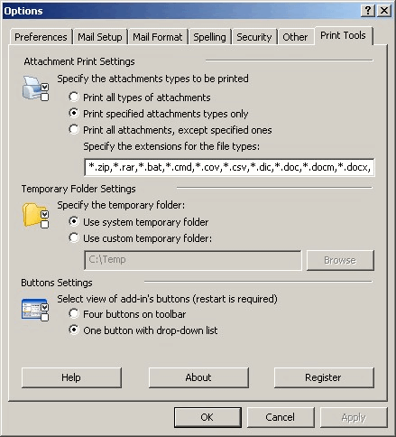 Print Tools for Outlook: Options window