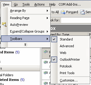 Outlook Printer: Toolbars
