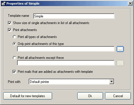 Outlook Printer: Template properties