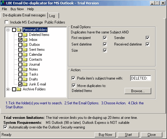 how to delete duplicate emails in outlook 2007