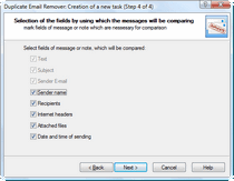 Which email fields are to be compared for Outlook duplicates.