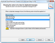 Select the action to be performed with duplicate emails.