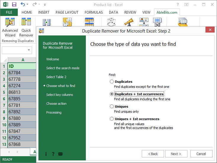 Find and remove duplicates in Excel – Duplicate Remover