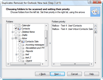 Select the Outlook folders to be scanned and set their priority.